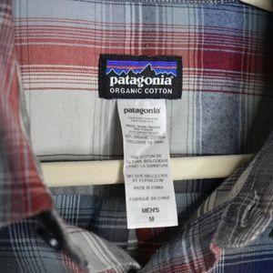 Patagonia Shirts - Patagonia Blue Plaid Organic Cotton Button Front